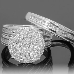 Cubic Zirconium Silver Plated Two-Piece Ring Set